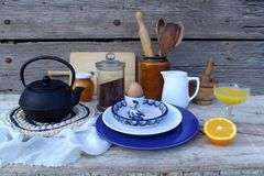 Still life with breakfast things royalty free stock photos