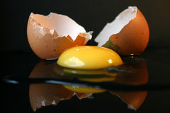 Still-life with a broken egg II stock images
