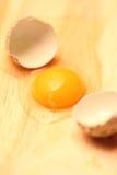 Still life: the broken quail egg. The broken quail egg on a table Royalty Free Stock Photo