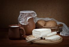 Still life with brynza. Royalty Free Stock Photo