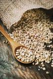 Still life with buckwheat grain heap in wooden spoon on vintage stock photo