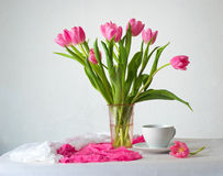 Still life with bunch of pink tulips Stock Photography