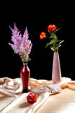 Still-life with bunches of flowers on a  fabric Royalty Free Stock Images