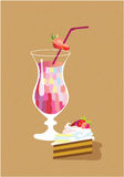 Still life with cake. And strawberry cocktail Royalty Free Stock Image