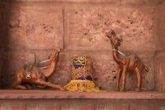 Still life of camel pair in desert Stock Images