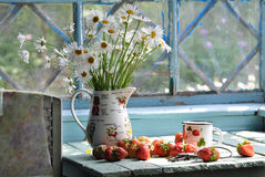 Still life with camomiles and strawberry Stock Photo