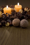 Still life with candles and potpourri. Royalty Free Stock Image