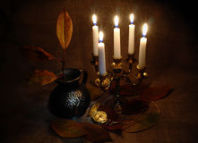 Still life with a candlestick Stock Photos