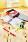 Still life with carpenter working tools Stock Photos