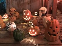 Halloween Jack O lanterns and skulls stock photos