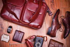 Still life with casual man, accessory on wooden  background Stock Images