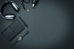 Still life of casual man. Modern male accessories on black. Background Stock Photography