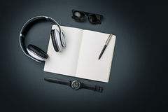 Still life of casual man. Modern male accessories on black. Background Royalty Free Stock Photo