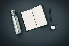 Still life of casual man. Modern male accessories on black. Background Stock Images