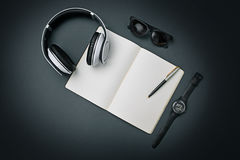 Still life of casual man. Modern male accessories on black. Background Royalty Free Stock Images