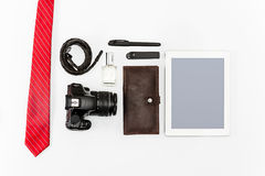 Still life of casual man. Modern male accessories and laptop. On white Stock Photography