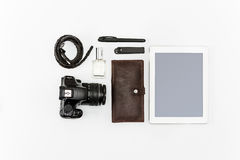 Still life of casual man. Modern male accessories and laptop. On white Royalty Free Stock Images