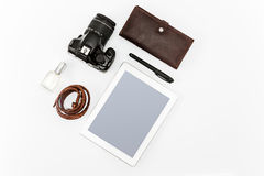 Still life of casual man. Modern male accessories and laptop. On white Royalty Free Stock Image