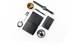 Still life of casual man. Modern male accessories on white. Background Stock Image