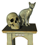 Still Life with Cat Statue and Skull - includes clipping path Royalty Free Stock Photography