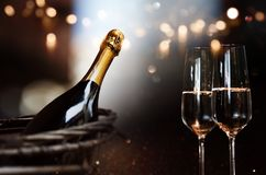 Still life with champagne. And festive bokeh background Royalty Free Stock Image
