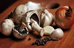 Still life with champignon mushrooms Stock Image