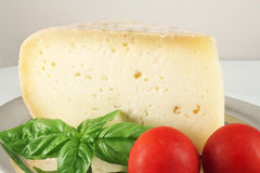 Still life with cheese and basil Stock Photos