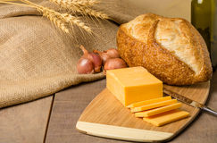 Still life with cheese and bread Royalty Free Stock Images
