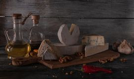 Still life with cheese. royalty free stock images