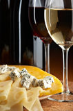 Still life with cheese and wine Royalty Free Stock Photography