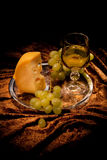 Still Life With Cheese And Wine Stock Photography