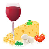 Still life with cheese and wine vector illustratio Royalty Free Stock Image