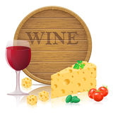 Still life with cheese and wine vector illustratio Stock Images