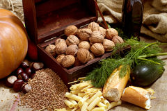 Still Life With Chest, Nuts, Pumpkin, Bread Stock Photo