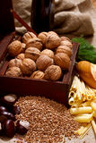 Still Life with Chest, Nuts, Pumpkin, Bread Stock Photos