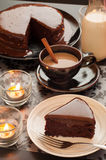 Still life of chocolate cake and cup of coffee. Stock Photo