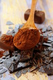 Still life chocolate cocoa, chocolate chips Stock Photography