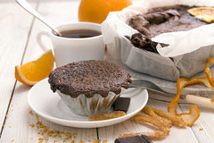 Still life with chocolate cupcake and cup of tea Stock Photography