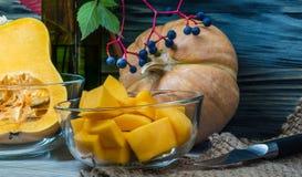 Still life of chopped pumpkin Stock Image