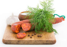 Still life with Chorizo sausage Stock Image