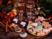 Still life with Christmas cookies, close-up. Royalty Free Stock Images