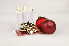 Still life at christmas days with lights and baubles. Studio setup royalty free stock images