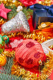 Still life with Christmas decoration balls Royalty Free Stock Images