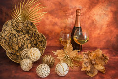 Still life with Christmas decorations and champagne royalty free stock images