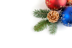 Still Life of Christmas/New Year decorations. Corner combination of Christmas/New Year decorations stock photo