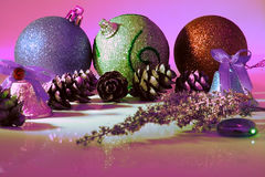 Still life on a Christmas theme. Balls, cones, bells Royalty Free Stock Images