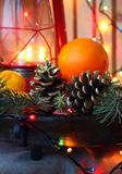 Still life with  Christmas tree branches Stock Images
