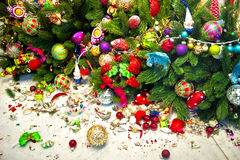 Still life with christmas tree and broken decoration balls Royalty Free Stock Images