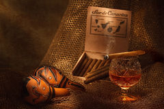 Still-life with cigar and cognac Royalty Free Stock Photography