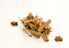 Still-life with cinnamon. Cinnamon sticks arranged as a still life together with cinnamon stars Stock Photos